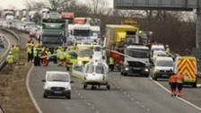 Air ambulances attended the scene on the M6 in Cumbria this morning