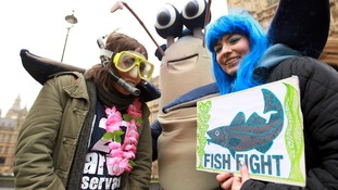 Campaigners get into the spirit in fish and diving costumes outside Westminster.