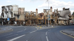 The ruins of House of Reeves in Croydon following last summer's blaze.