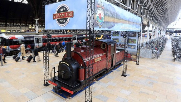 The Princess, the world's first narrow gauge steam engine, on display at London's Paddington Station.