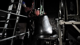A new 8th bell is hoisted into the belfry at St. Mary Redcliffe in Bristol