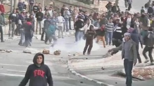 Palestinians protest in the West Bank