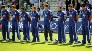 England players observe a minutes silence in memory of Tom Maynard