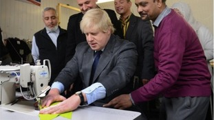Boris sews a 'codpiece' in clothing factory cock-up