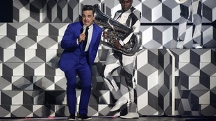 Robbie Williams pictured performing at Brit Awards last week.