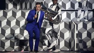 Robbie Williams pictured performing at Brit Awards last week.
