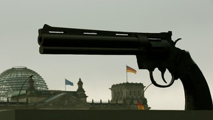 The sculpture is a centre-piece of a protest against the German arms trade.
