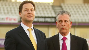 Nick Clegg with Mike Thornton, the party's prospective parliamentary candidate during the Eastleigh by-election