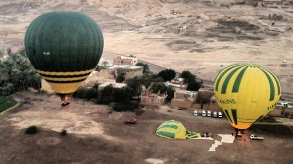 The launch site near Luxor in Egypt prior to a hot air balloon explosion