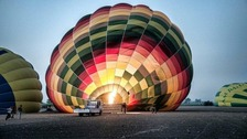 One of the hot air balloons at the Luxor site prior to the explosion