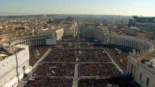 Massive crowds have gathered outside the Vatican to see Pope Benedict