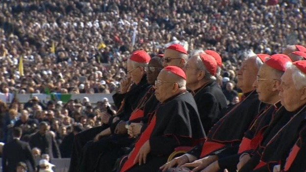 Thousands have gathered to hear the pontiff speak