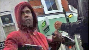 Thompson caught on camera looting in the streets of London before the Croydon blaze.