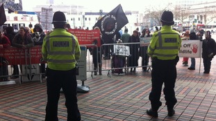 Protests at the NFU conference