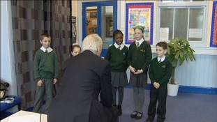 David Turner meeting children at Laira Green school