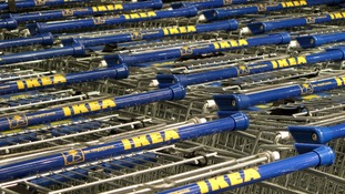Generic stock picture of trolleys outside an IKEA store.