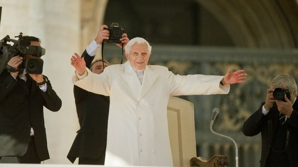 Pope Benedict XVI in the glare of the spotlight for his last audience today