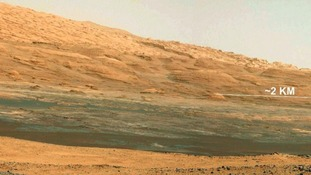 The view from the landing site of NASA's Curiosity rover toward the lower reaches of Mount Sharp on Mars