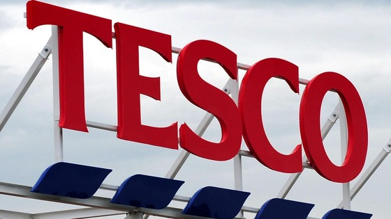 General view of a Tesco sign on a store.