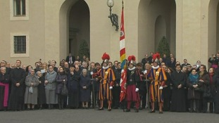 When the Swiss Guards (c) leave their post the papacy will officially be vacant.