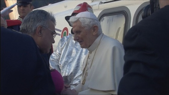 The Pope is greeted as he lands near Castel Gandolfo