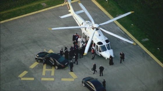 Helicopter landed on tarmac