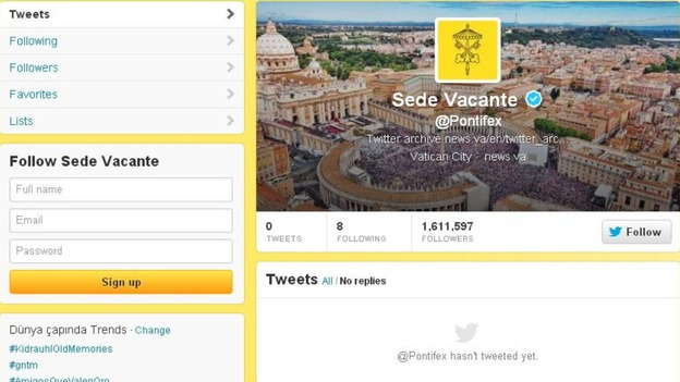 Benedict XVI's tweets have been deleted and the @Pontifex account has the Latin phrase for 'seat being vacant'.