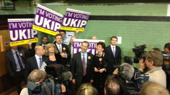 Nigel Farage with other UKIP campaigners at the count