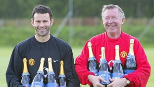 May 2003. Manchester United manager Sir Alex Ferguson (right) with player Ryan Giggs.