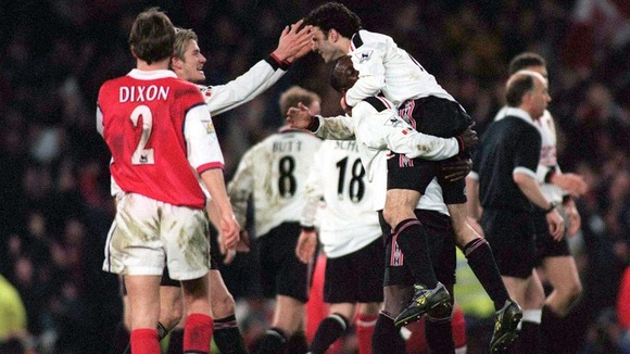 April 1999. Giggs celebrates with teammates after final whistle of FA cup semi final.