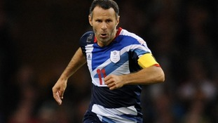 August 2012. Giggs in action for Great Britain.