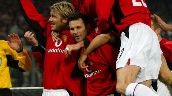 Giggs celebrates scoring against Juventus in February 2003.