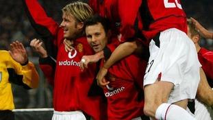 Giggs celebrates scoring against Juventus in February 2003.