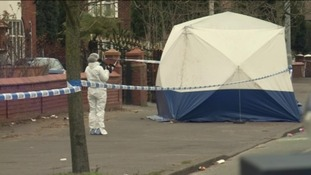 Forensic experts on the scene after body found in Chorlton.