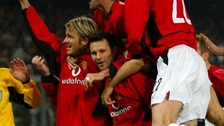 February 2003. Giggs celebrates scoring against Juventus.