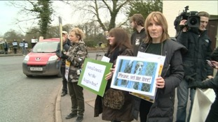 Campaigners outside Astra Zeneca in Cheshire