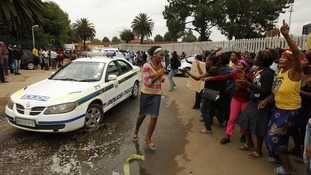 Protesters gathered outside the Daveyton police station east of Johannesburg