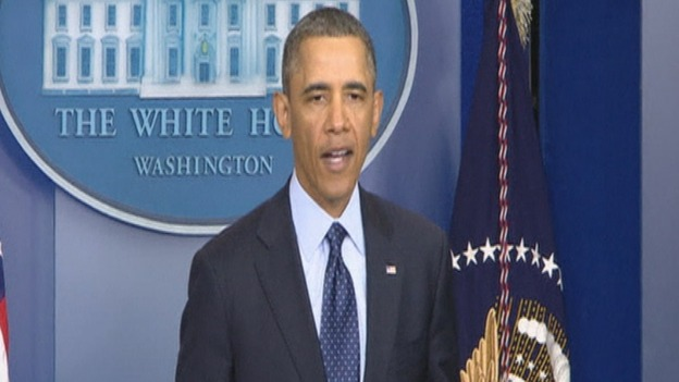 President Barack Obama speaking after meeting with congressional leaders.