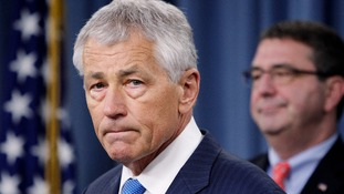 US Defence Secretary Chuck Hagel at a news conference today.