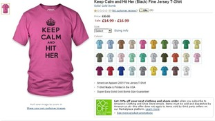 One of the t-shirts on sale on the Amazon UK website
