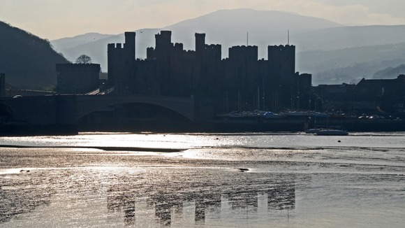 Conwy Castle bathing in sunshine