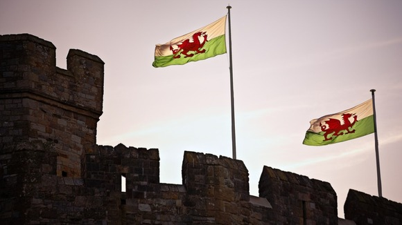 Welsh flag proudly fluttering in the breeze