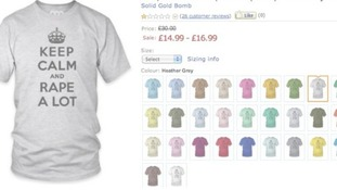 One of the offensive T-shirts that was on sale on the Amazon UK website