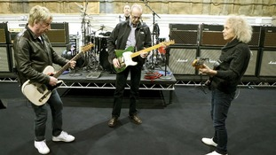 Status Quo rock out as they get in some practice at Sheperton Studios in Surrey