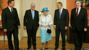 The Queen with Prime Minister David Cameron and the former Prime Ministers John Major, Tony Blair and Gordon Brown