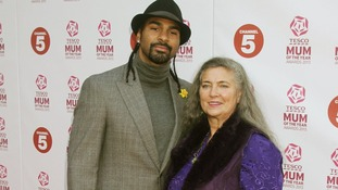 David Haye and his mum Jane arriving for the Tesco Mum of the Year Awards