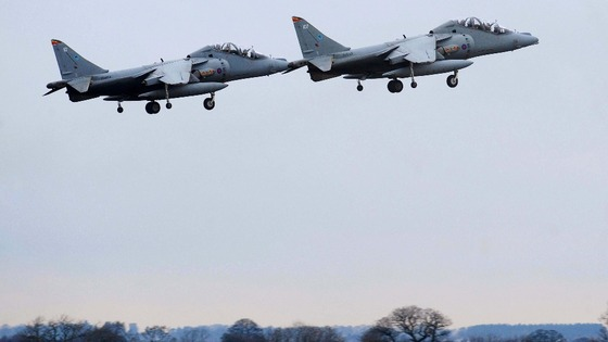 Two Harriers put on a display at RAF Cottesmore