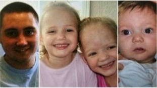 Reece Smith, 19, four-year-old twins Holly and Ella Smith, and two-year-old Jordan Smith