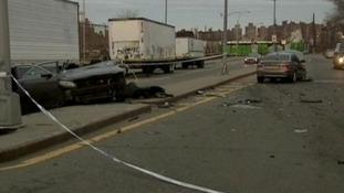 The scene of the crash in Williamsburg, Brooklyn, New York
