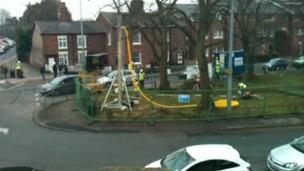 Activists set up a mock fracking rig in Knutsford